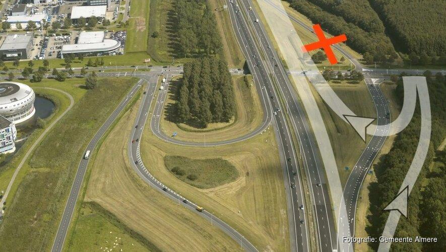 Verbreding A6: Nieuwe toerit Almere Stad richting Lelystad donderdagochtend 26 april open