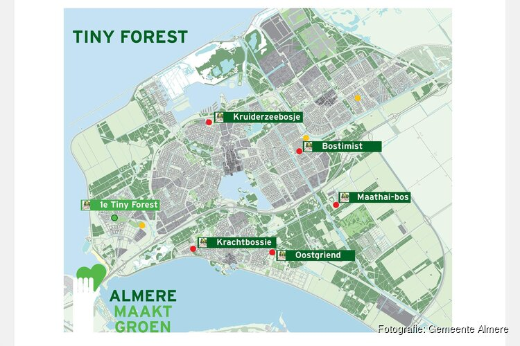 Vijf nieuwe locaties voor een Tiny Forest in Almere; mini-bosjes worden in najaar geplant